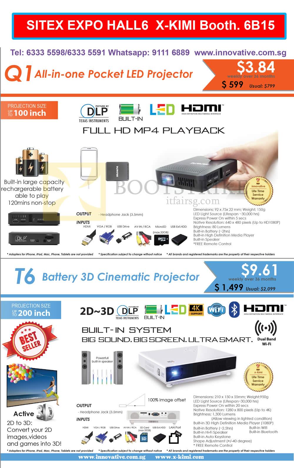 SITEX 2015 price list image brochure of X-Kimi Innovative Projectors Q1, T6