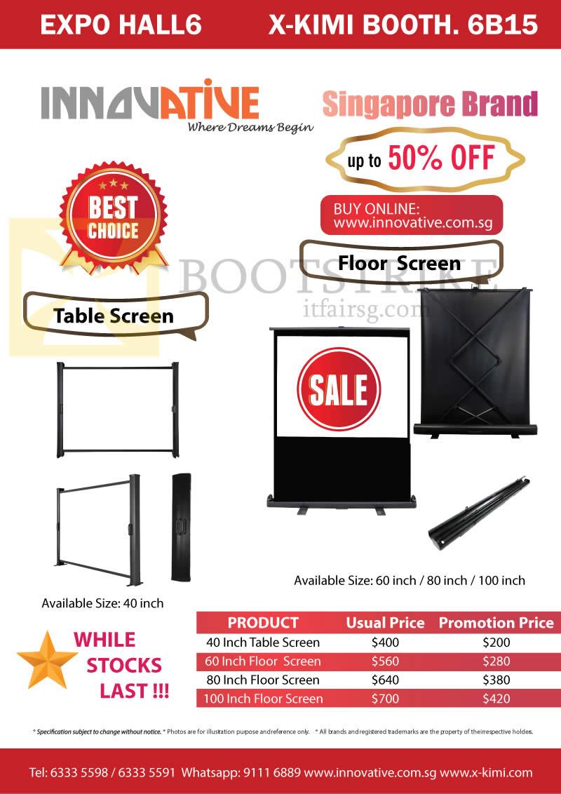 SITEX 2015 price list image brochure of X-Kimi Innovative Table, Floor Screens