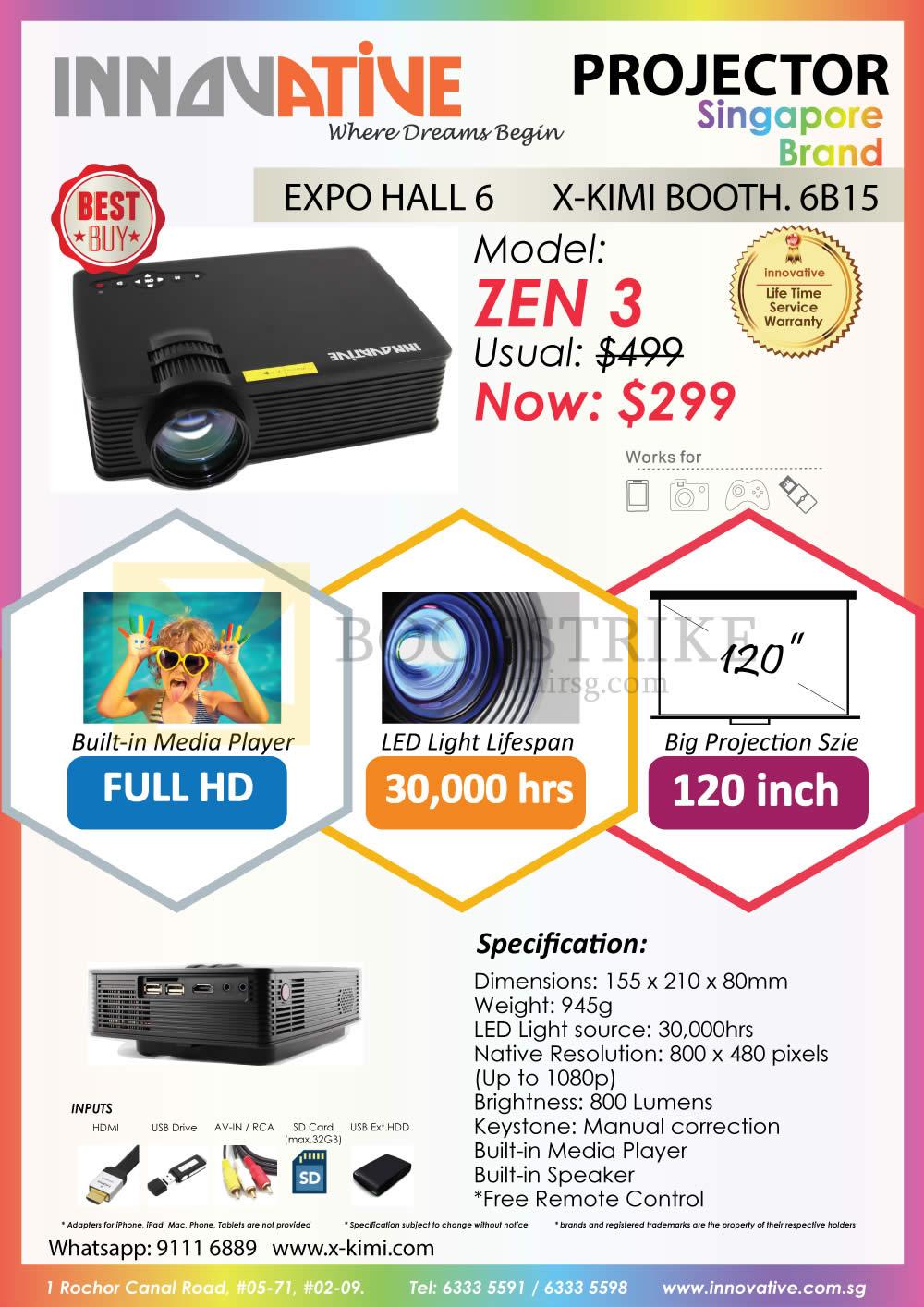 SITEX 2015 price list image brochure of X-Kimi Innovative Zen 3 Projector