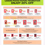 Canon Photo Papers Promotion 20 Percent Off, Glossy, Semi Glossy Photo Paper, Photo Paper Pro Luster, Pro Platinum