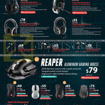 Headphones, Mouse,m Keyboards, Sirus C, Pulse-R, Ceres 500, 300, Resonar, Pitch Pro, Pitch, Alcor 4000dpi, Reco 4000dpi, Mizar 8200dpi, Havoc 8200dpi