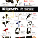 Klipsch Earphones, R6i, R6 On-Ear, Limited Edition R6i, X4i, X7i, X11i, R6i, R6m, R6, S3m, X7i, AW4i, X11i, AS5i, Status, Reference On-Ear, Promedia 2.1, Gig, KMC1, KMC3