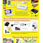 Cast Screen, IFlash Disk USB, Wifi Smart Remote Control, Cloud Storage, Plastic Bag Sealer Stick, Finger Strap For Phone